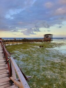 wooden pier with hut in the Philippines