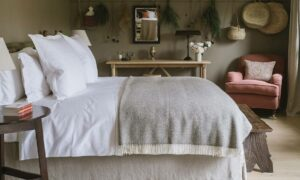 Luxury bedroom at Heckfield Place